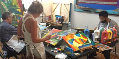 Fauvist Painting Art Class in an Art Studio in the