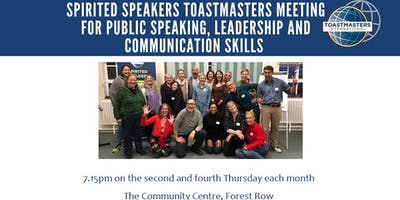 Open Night - everyone welcome: Spirited Speakers, Forest Row - Toastmasters