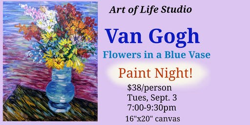 Van Gogh Paint Night: Flowers in a Blue Vase