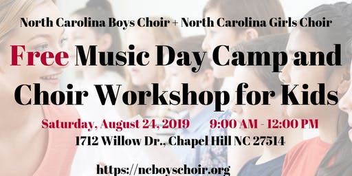 Free Music Half-Day Camp and Choral Workshop with North Carolina Boys Choir and Girls Choir