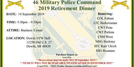 46th Military Police Command 2019 Annual Retirement Dinner tickets