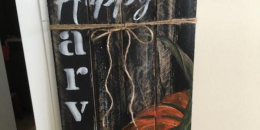 Brush, Board & Bourbon-Happy Harvest Paint Night