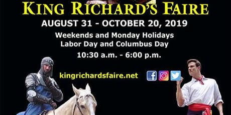 2019 King Richard's Faire, THE New England Renaissance Festival!! ingressos