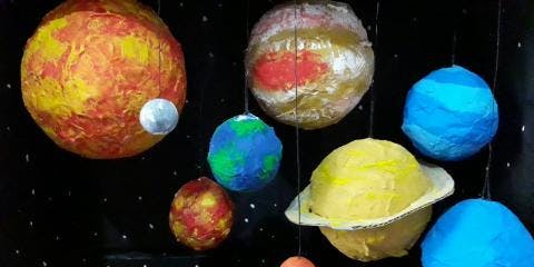 Hale End library Summer Reading Challenge Paper Mache Planets