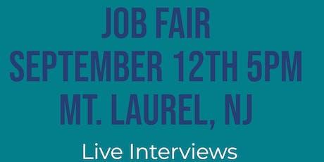 MOUNT LAUREL NJ JOB FAIR - THURSDAY SEPTEMBER 12...MANY NEW COMPANIES @5pm!! tickets