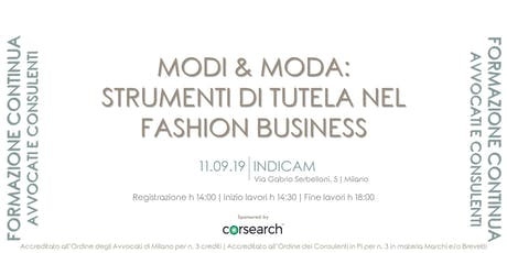 MODI & MODA: strumenti di tutela nel fashion business tickets