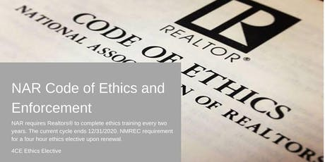NAR Code of Ethics and Enforcement (Ethics Elective) tickets