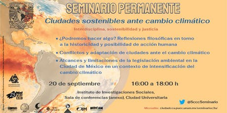 Quinta sesión del Seminario Permanente Ciudades Sostenibles ante el Cambio Climático boletos