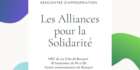Rencontre d'appropriation - Alliances pour la solidarité - Côte-de-Beaupré billets