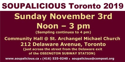 Soupalicious Toronto on Sunday November 3, 2019