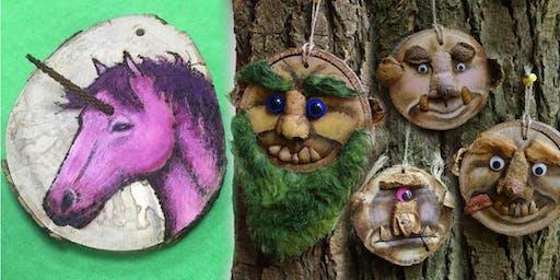 Create a Unicorn/Ogre Face on a Slice of Wood