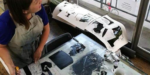 ARThub5 LISA TAKAHASHI: POSTCARDS OF BRISTOL  4 postcard -4 techniques A Lino masterclass