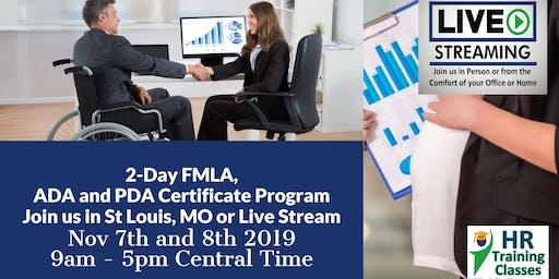 2-Day FMLA, ADA and PDA Certificate Program(Starts 11-7-2019)