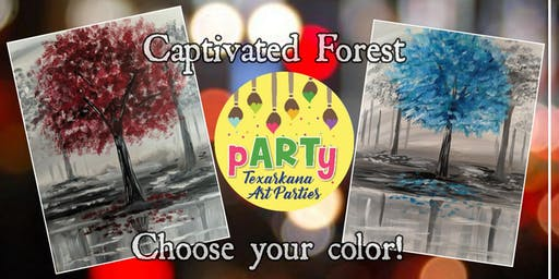 "Paint and Sip at Redbone with pARTy ""Captivated Forest"" Choose your color!"
