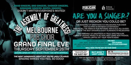 The Assembly of Greatness - Melb Pub Choir at Publican, Mornington! tickets