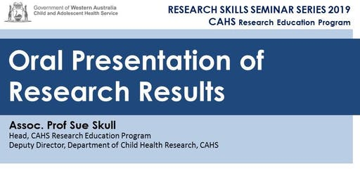 Research Skills Seminar: Oral Presentation of Research Results - 30 Aug
