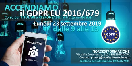CORSO PRIVACY GDPR EU 2016/679 per TITOLARI e RESPONSABILI dati biglietti