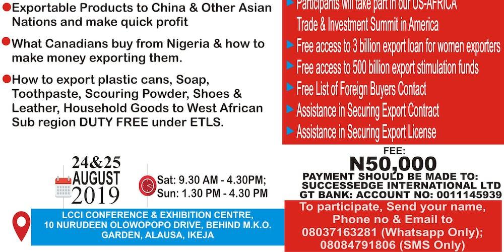Comprehensive Export Seminar Tickets, Sat, Aug 24, 2019 at 9:30 AM