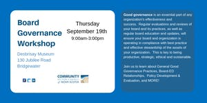 Board Governance Workshop-South Shore Region