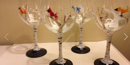 Nov 12 - Not Your Average Paint and Sip BIRCH 2 WINE GLASSES