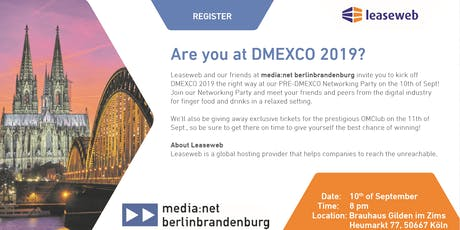 PRE-DMEXCO Networking Party with Leaseweb and media:net berlinbrandenburg Tickets