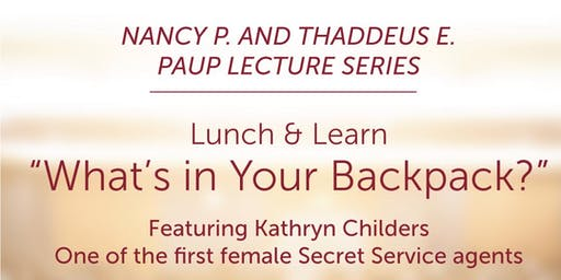 "Lunch and Learn for TWU Students ""What's in Your Backpack?"" Featuring Kathryn Childers"
