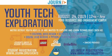 Youth Tech Exploration Event August 24, 2019 12pm-4pm tickets