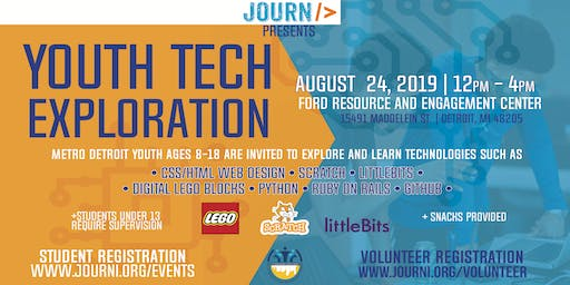 Youth Tech Exploration Event August 24, 2019 12pm-4pm