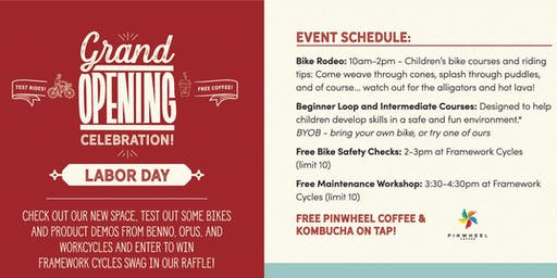 Framework Cycles Grand Opening - Free Maintenance Workshop