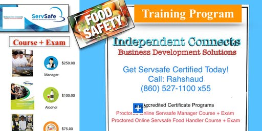 Proctored Servsafe Food Handler Course + Exam | Hartford Connecticut