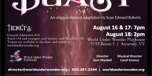 Beauty and the Beast: August 17, 7pm