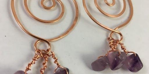 Wire Jewellery Workshop - Large Beaten Spiral Earrings