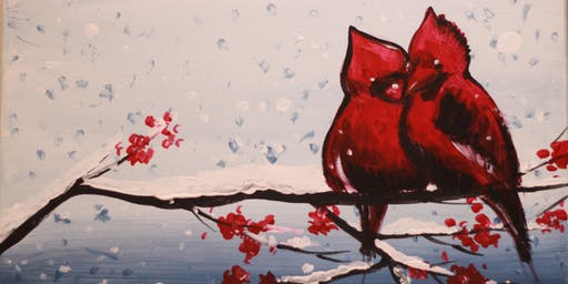 Chill & Paint Night @ Auckland City Hotel  -  Cardinal Birds in Winter
