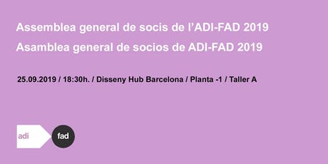 SAVE THE DATE! ASSEMBLEA GENERAL DE SOCIS ADI-FAD 2019 entradas