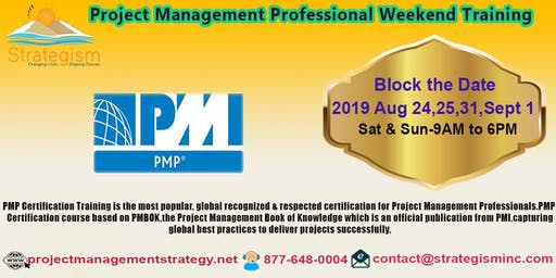 PMP weekend Bootcamp in Fremont-Aug 24,25,31,Sept 1,2019