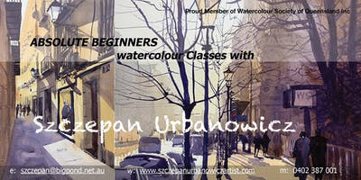 WATERCOLOURS FOR BEGINNERS - 6 WEEKS - MONDAY EVENINGS - 6.00 PM - 9.00 PM