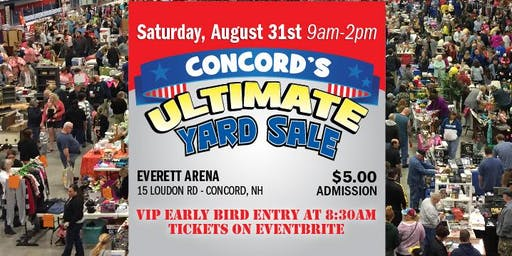 Concord's Ultimate End of Summer Yard Sale Aug 31 EARLYBIRD Admission 830AM