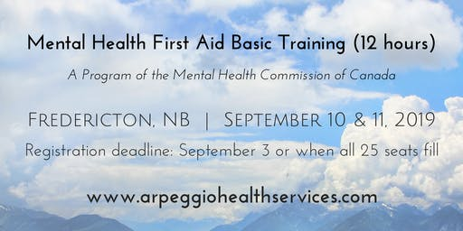 Mental Health First Aid Basic Training - Fredericton, NB - Sept. 10 & 11, 2019