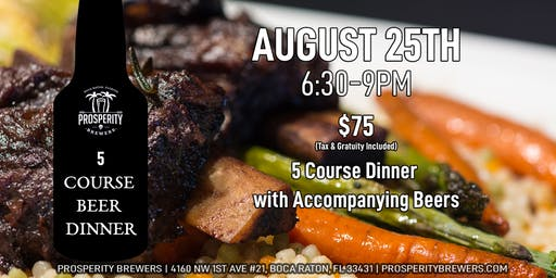 5 Course Beer Dinner at Prosperity Brewers