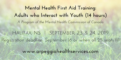 Mental Health First Aid Training: YOUTH - Halifax, NS - Sept. 23 & 24, 2019
