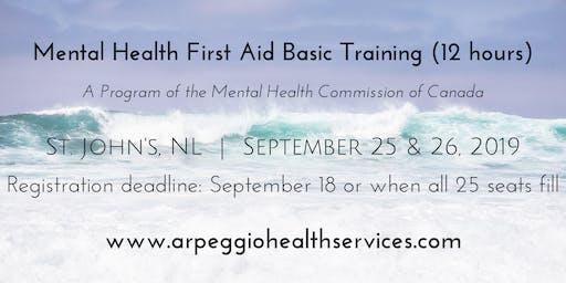 Mental Health First Aid Basic Training - St. John's, NL - Sept. 25 & 26, 2019