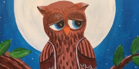 """Mr. Owl"" acrylic painting class. Kids invited. All supplies included. tickets"