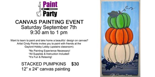 Stacked Pumpkins-- Saturday September 7th  9:30 am