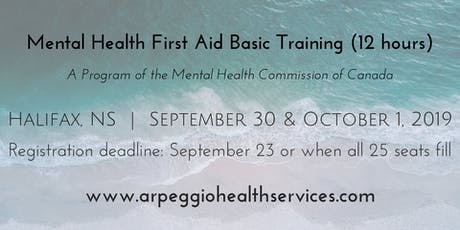 Mental Health First Aid Basic Training - Halifax, NS - Sept. 30 & Oct. 1, 2019 tickets