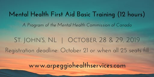 Mental Health First Aid Basic Training - St. John's, NL - Oct. 28 & 29, 2019