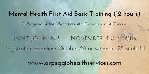 Mental Health First Aid Basic Training - Saint John, NB - Nov. 4 & 5, 2019