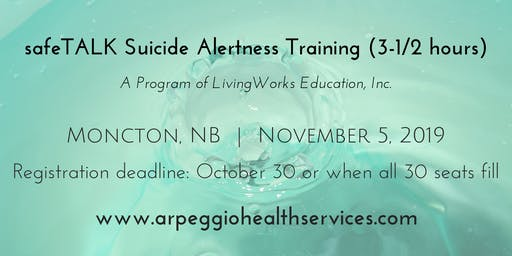 safeTALK Suicide Alertness Training - Moncton, NB - Nov. 5, 2019