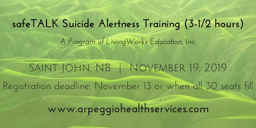 safeTALK Suicide Alertness Training - Saint John, NB - Nov. 19, 2019