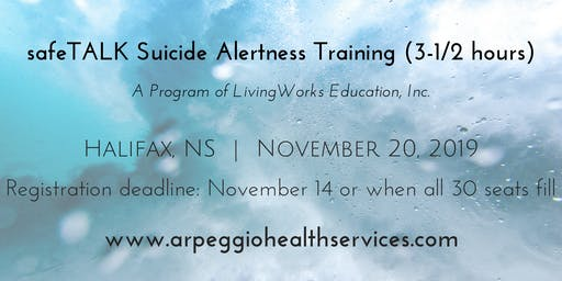 safeTALK Suicide Alertness Training - Halifax, NS - Nov. 20, 2019