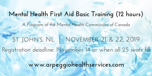 Mental Health First Aid Basic Training - St. John's, NL - Nov. 21 & 22, 2019